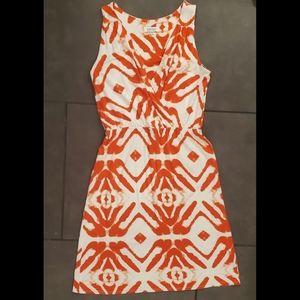 Barneys New York Orange and White Dress